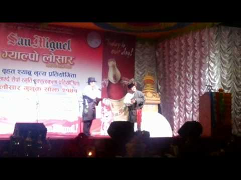 Sherpa comedian Pemba Gelu and Lakpa Tenji lama during losar program 2014 Travel Video