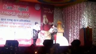 Sherpa comedian Pemba Gelu and Lakpa Tenji lama during losar program 2014