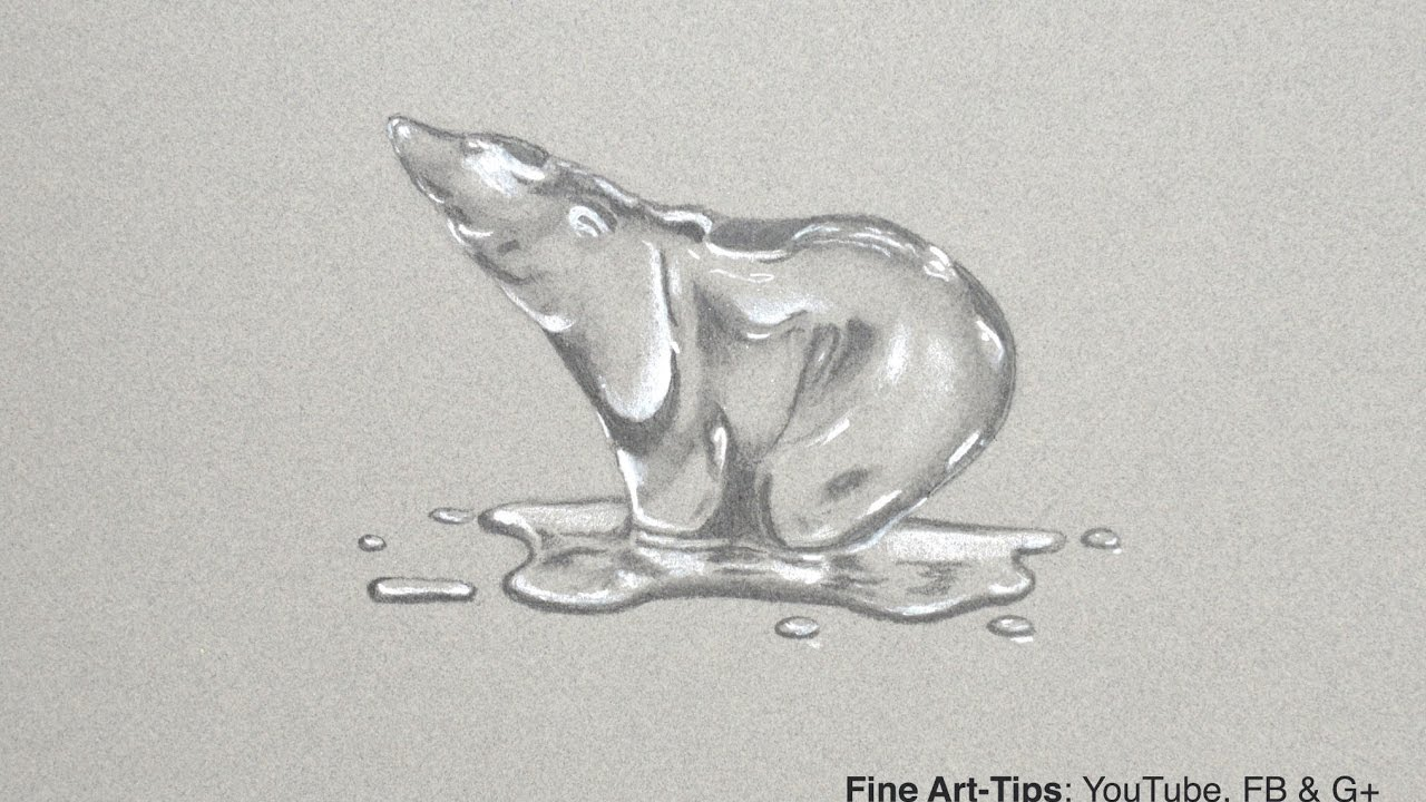 How To Draw A Melting Polar Bear Of Ice Or Crystal Narrated