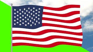 USA Flag 5 Minutes Loop - FREE 4k Stock Footage - Cartoon Flag Wave Animation