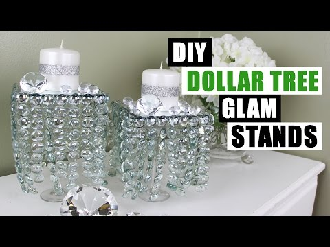 DIY DOLLAR TREE GLAM DECOR STANDS Dollar Store DIY Candle Holders Bling Candles DIY Glam Room Decor