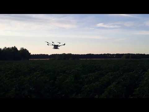 Опрыскивание поля с помощью дрона