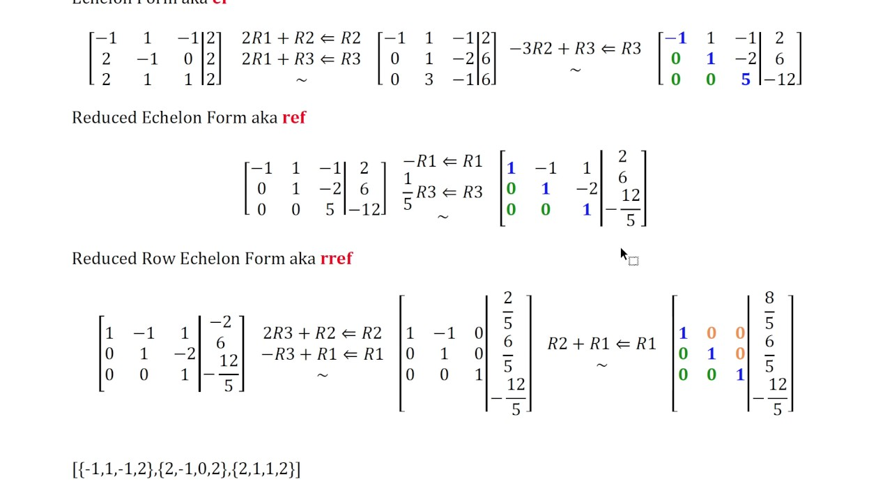 Echelon Forms EF, REF, RREF the difference between echelon ...