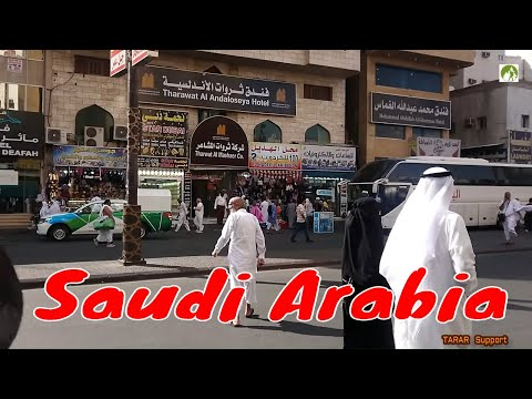 Traveling Saudi Arabia Street Walk In Makkah City Middle Eas