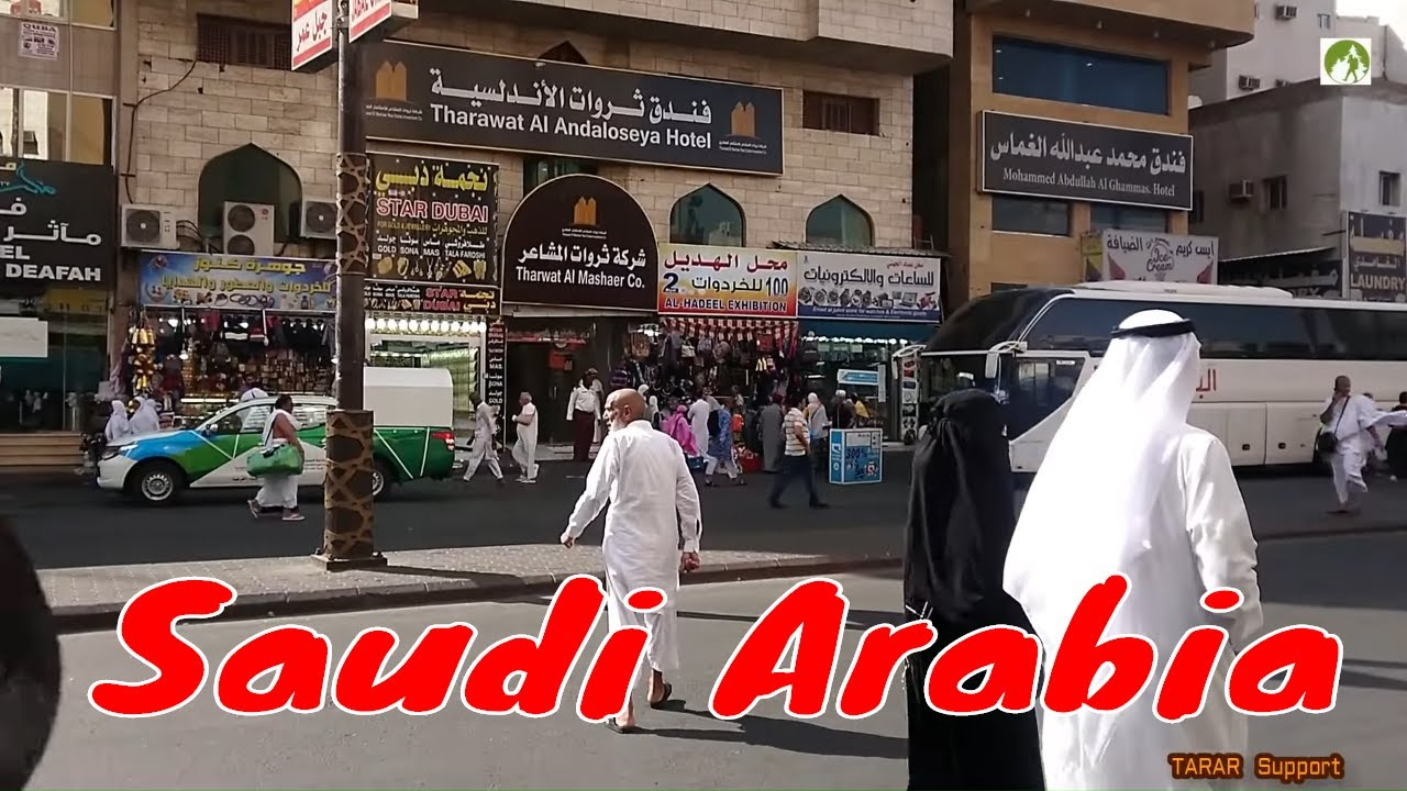 Traveling Saudi Arabia Street Walk In Makkah City Middle East 2019