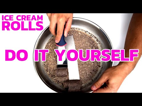 How to make chocolate ice cream rolls at home easy method