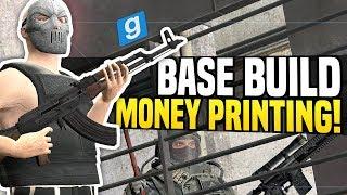 BASE BUILD WITH MONEY PRINTERS - Gmod DarkRP | Raiding The Neighbor!