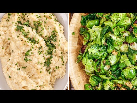 Make-Ahead Thanksgiving Sides: French Onion Mashed Potatoes + Brussels Sprouts Salad