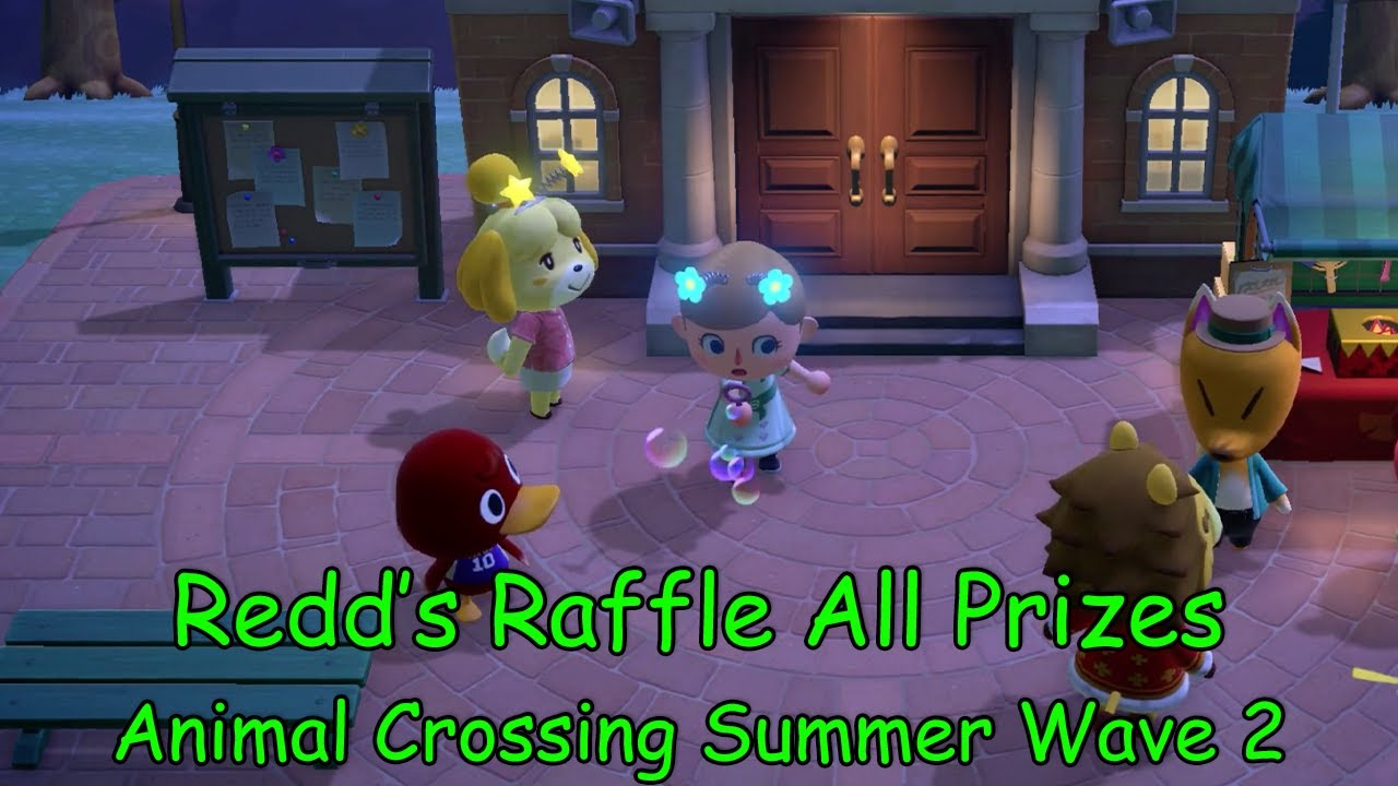 Animal Crossing New Horizons - NEW Redd's Raffle - All Prizes - Summer Update Wave 2