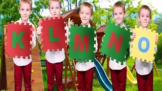 Learn ABC English Alphabet K L M N O version | Five little Babies Jumping on the Bed Rhymes