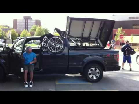 wheelchair lift for truck gray chair pads in a 2011 ford f150 youtube