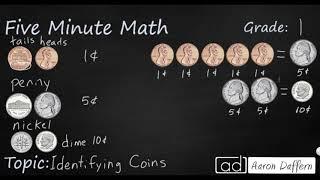 1st Grade Math Identifying Coins