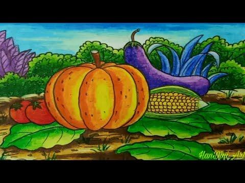 Cara Menggambar Sayur Sayuran How To Draw Vegetables Youtube
