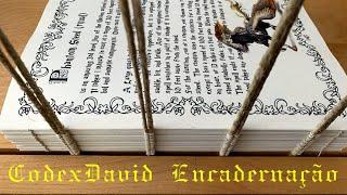 Book binding sewing on mediaeval style costurando livro