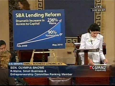 Small Business Lending Act in Deadlock: Ranking Member Senator Olympia J. Snowe (R-Maine)