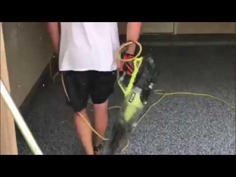 DIY Epoxy Garage Flooring: Epoxy Scraping & Applying Top Coating to Epoxy Garage Floor: