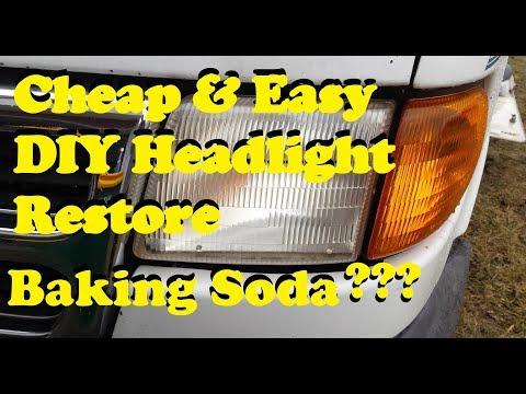 DIY Headlight Restore ~ Cheap & Easy Way (Baking Soda & Vinegar) YUP! It Works