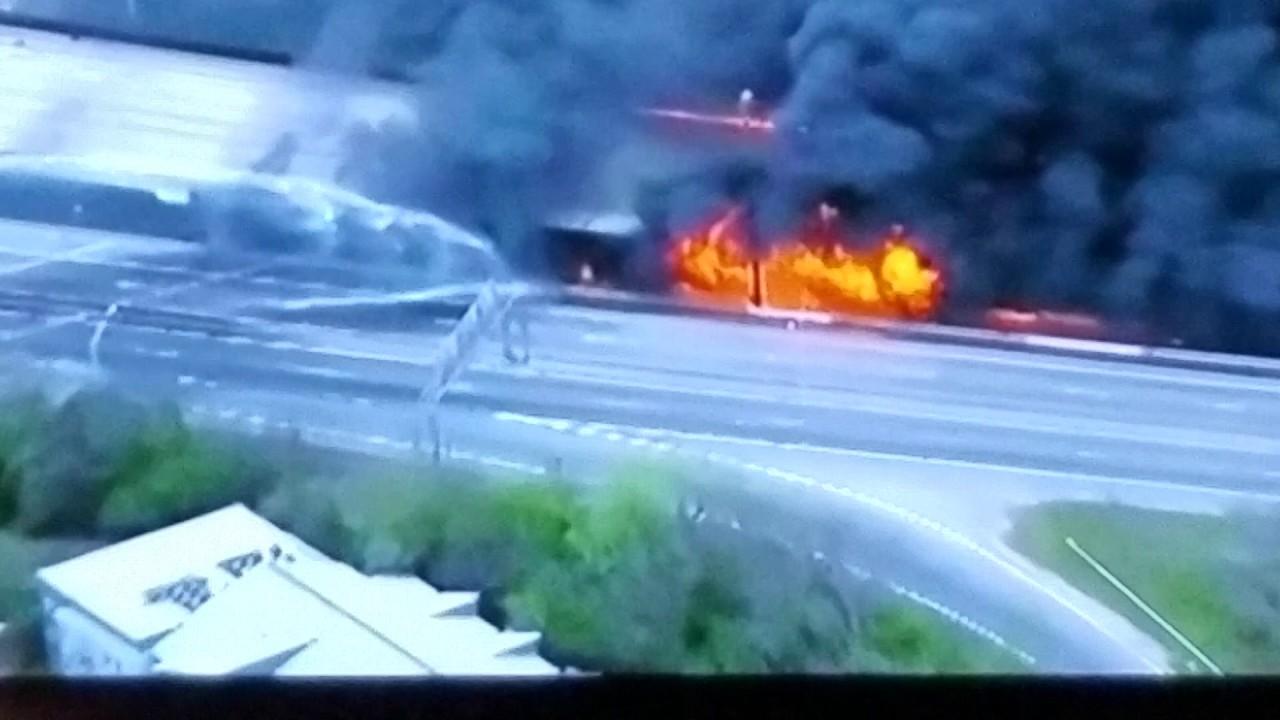 Fire accident on I 85 Atlanta