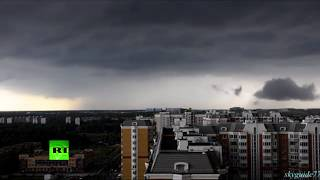 Moscow was hit by severe rainstorm with strong winds and hail. Earl...
