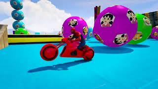 有趣的学习颜色与超级英雄的自行车卡通儿童与童谣