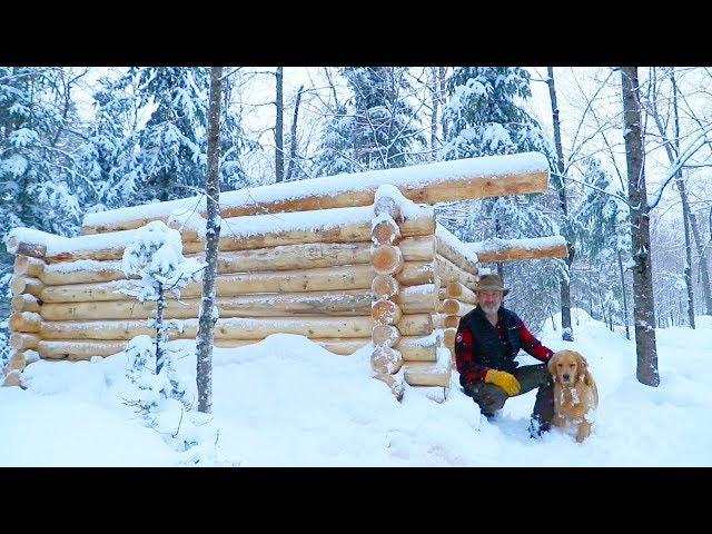 Log Cabin Sauna Build using Hand Tools, Ep. 13 | Wall Project | Duck Confit, Cast Iron Cooking