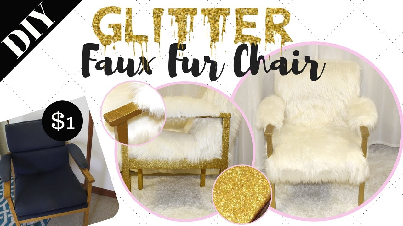 Rags to Riches Ep 1  DIY GOLD GLITTER FAUX FUR CHAIR