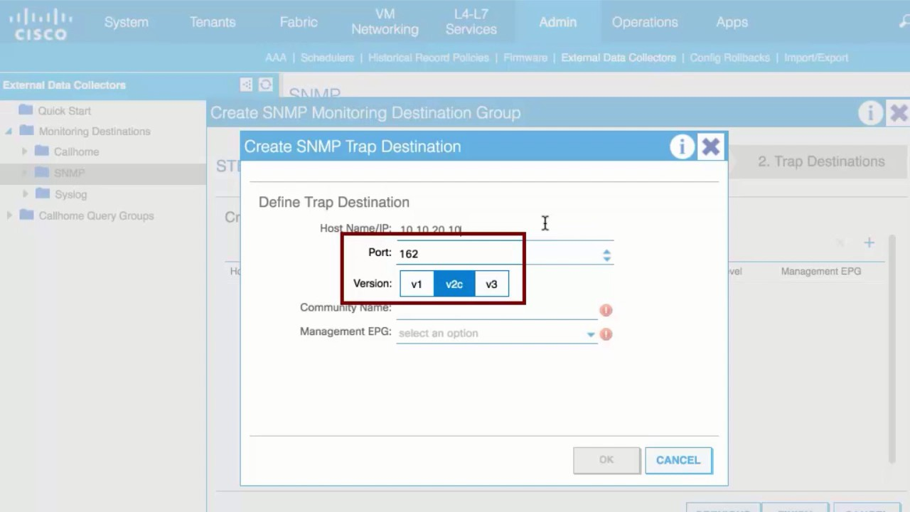 Configuring an SNMP Trap Destination, Release 2 0(2f)
