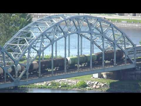 Mini footage - Enormous Baltic freight train on the bridge (Riga, Latvia)