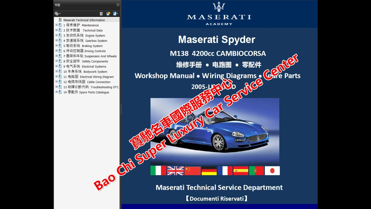 maserati spyder coupe m138 workshop repair manuals wiring diagrams ferrari mondial wiring diagram maserati spyder coupe [ 1280 x 720 Pixel ]