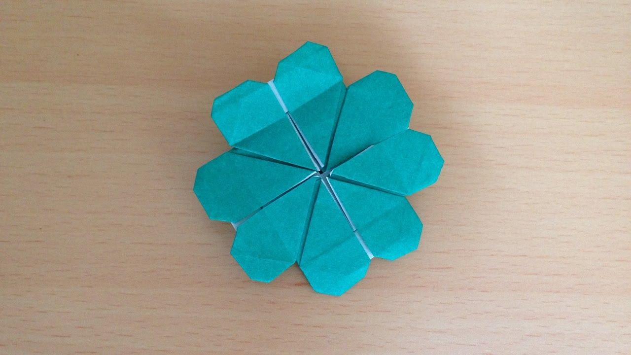 折り紙 四つ葉のクローバー 簡単な折り方 Origami four leaf clover ...