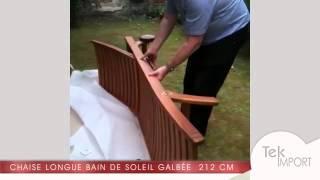 Chaise longue bain de soleil galbée en bois teck 212 cm - Tek Import