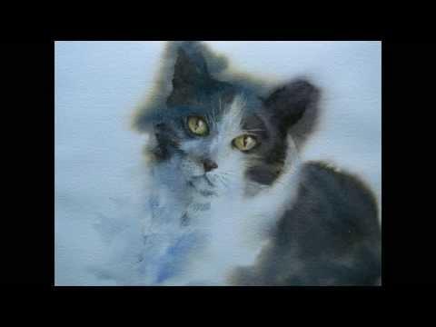 How to paint a watercolor cat portrait