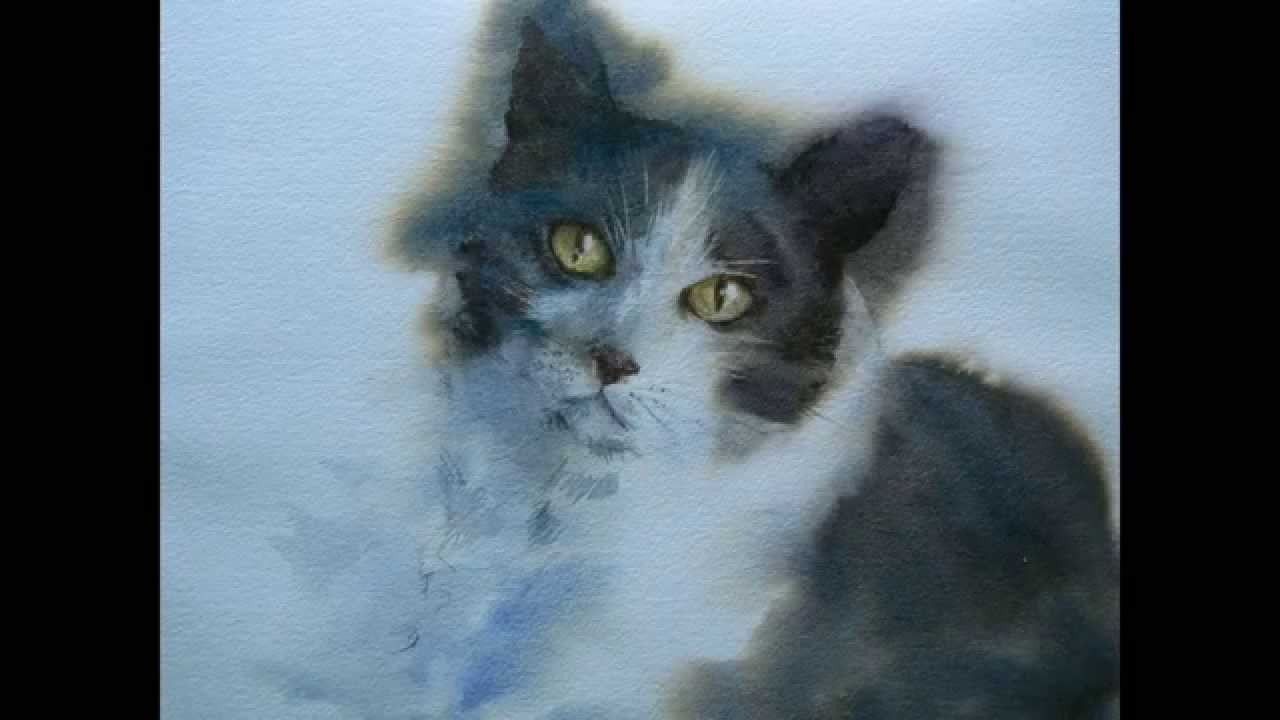 How to paint a watercolor cat portrait - YouTube