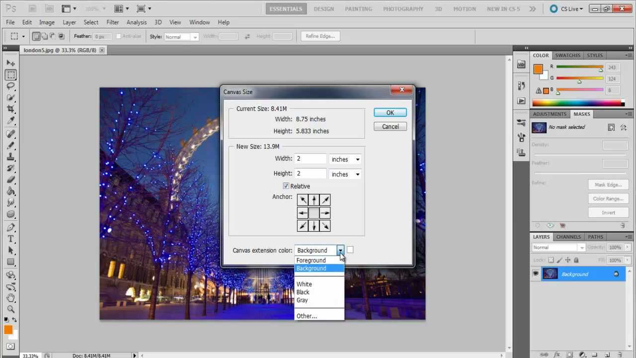 how to put canvassize in photoshop