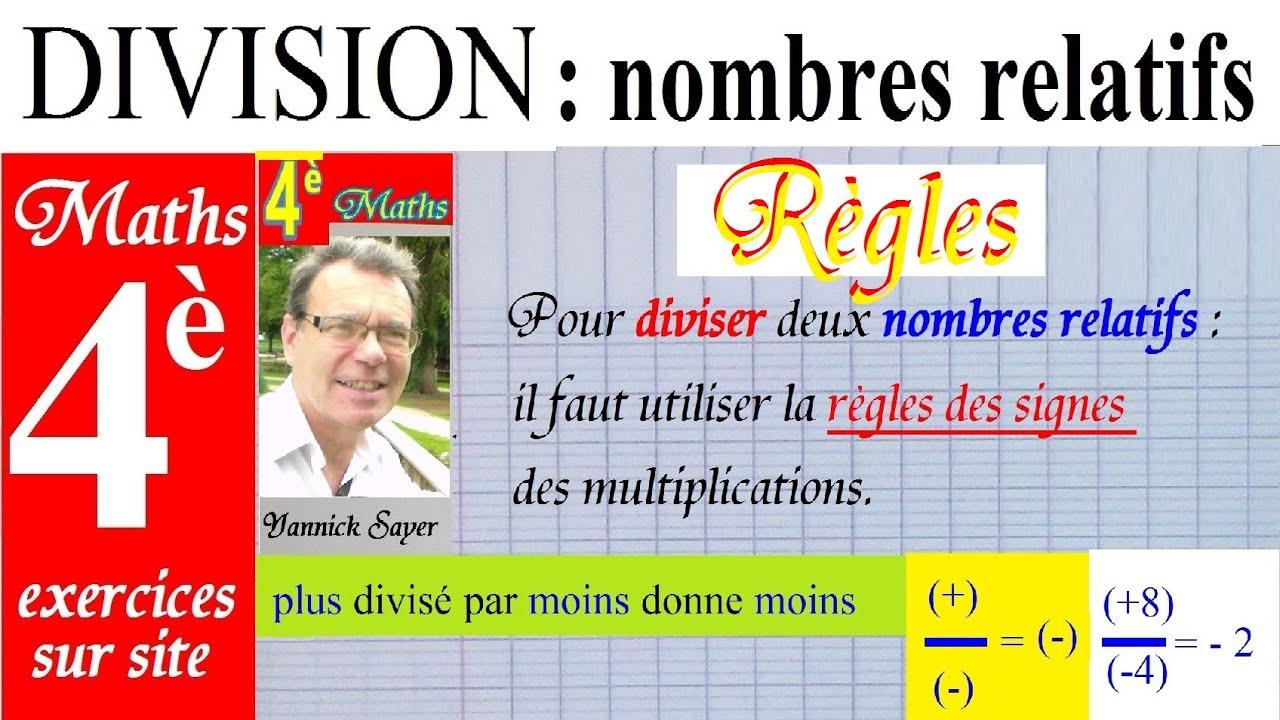 Maths 4ème | Division des nombres relatifs + exercices sur ...