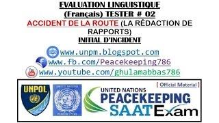 Français EVALUATION LINGUISTIQUE TESTER # 02 ACCIDENT DE LA ROUTE (LA RÉDACTION DE RAPPORTS)