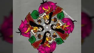 Rangoli designs...creative welcoming rangoli...15 to 5 dots...