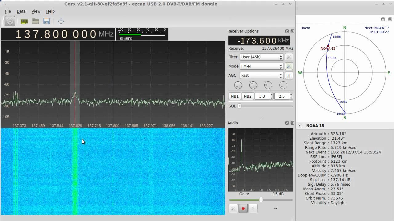 NOAA APT reception with Gqrx and rtlsdr - OZ9AEC Website