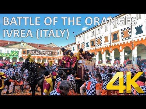 BATTLE OF THE ORANGES (Carnival of Ivrea) – Italy 🇮🇹 [4K]