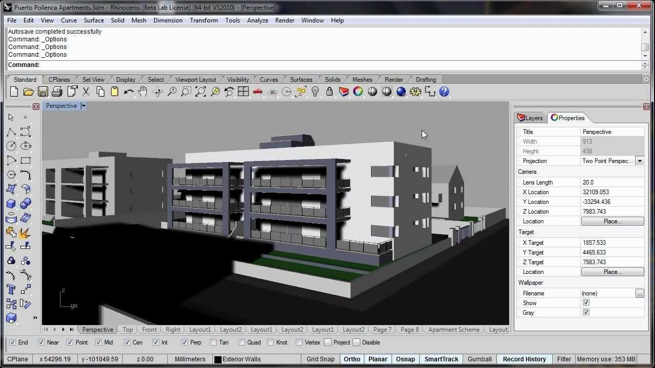 La visualizaci n de arquitectura en rhino v5 youtube for Software architettura 3d