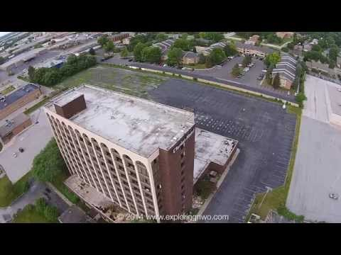 High Aerial View of Abandoned Clarion Hotel in Toledo prior to Demolition