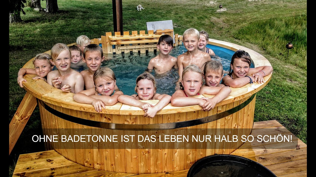 badezuber badetonne badefass badebottich fasssauna mit holzofen hot tub kaufen youtube. Black Bedroom Furniture Sets. Home Design Ideas