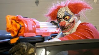 NERF War: Clown Claus!