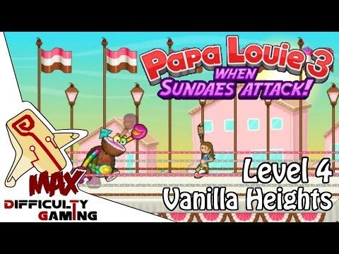 Papa Louie 3: When Sundaes Attack 100% Walkthrough - Level 4: Vanilla Heights & BOSS - 6/6 Warp Keys