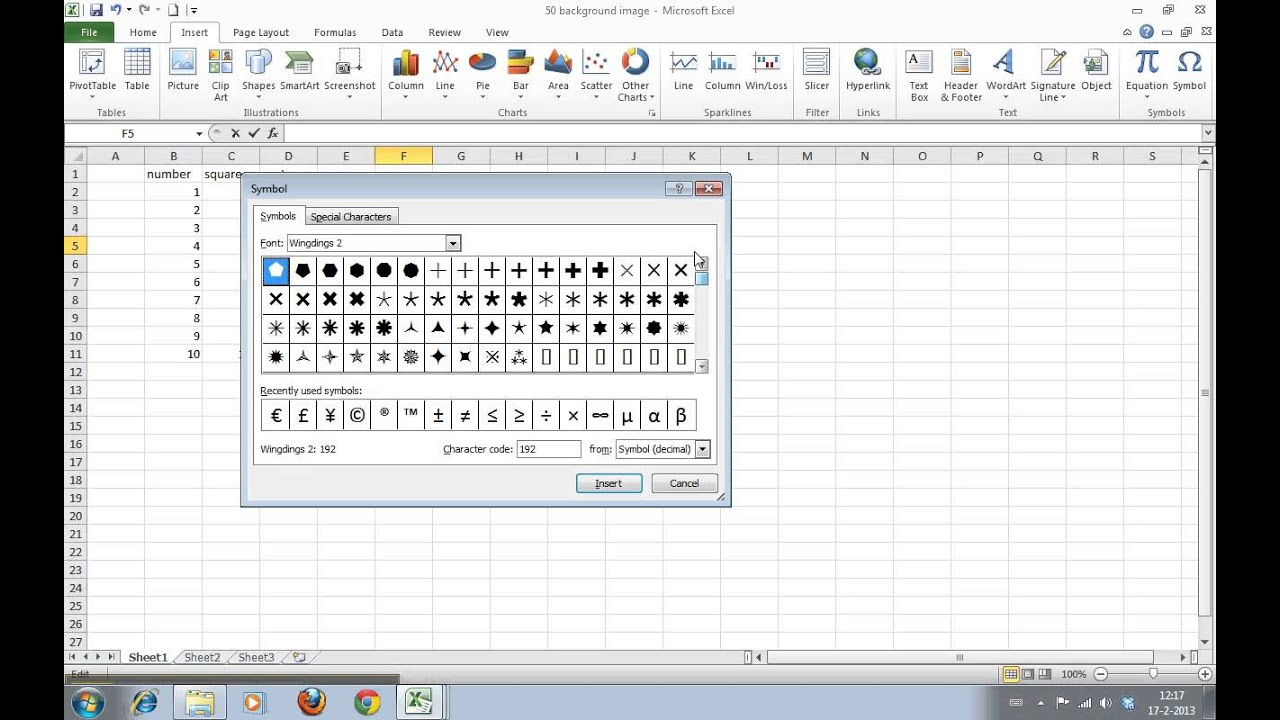 How To Insert Symbols And Special Characters In Excel 2010 Youtube