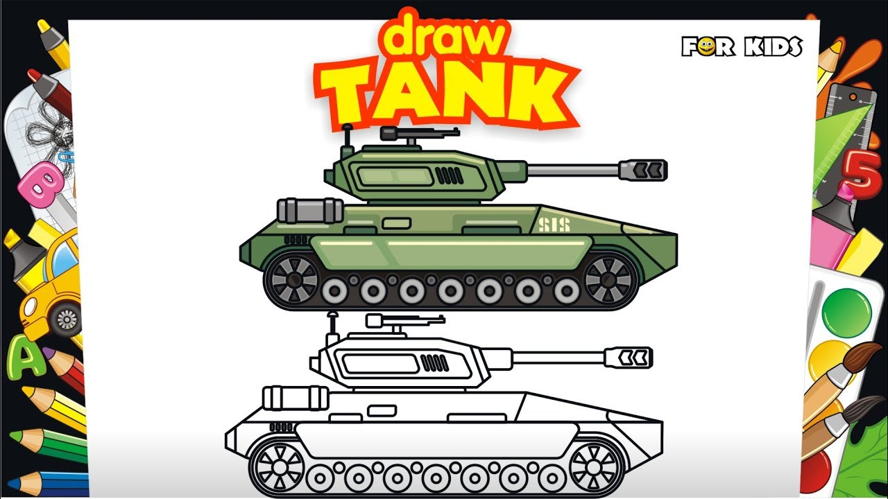 How to Draw Tank. Video for Kids. How to Draw Vehicles for Kids ...