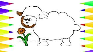 Glitter Sheep For Toddlers | How To Draw Animals | Art For Kids | Coloring  | Baby Drawing Animals