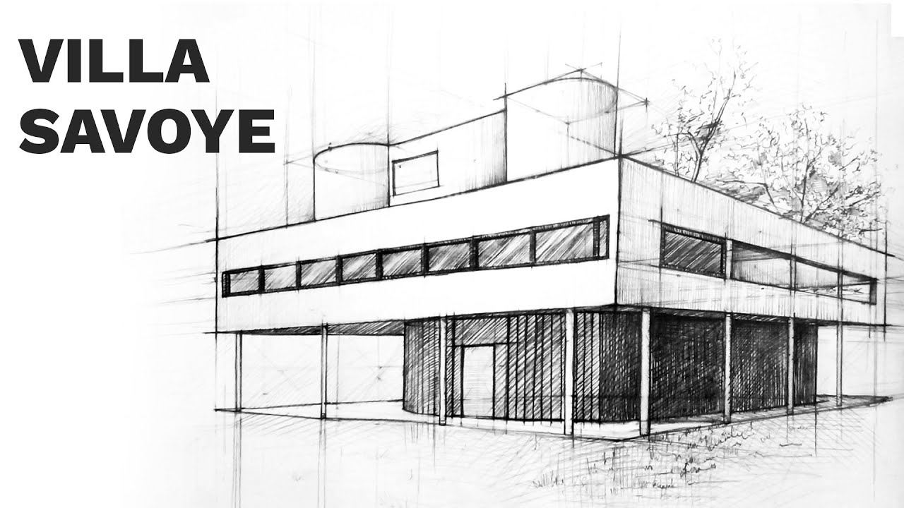 Villa savoye perspective drawing 1 famous architecture for Architectural plans of famous buildings