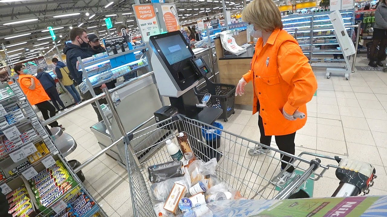 Shopping in Huge Russian Supermarket: Fast & Cool or ... Fantastic Scanner at work /Different Russia