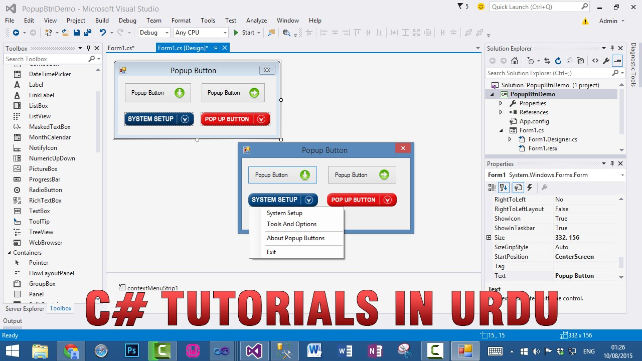 C# How to create Popup Button in WinForms Application In Urdu